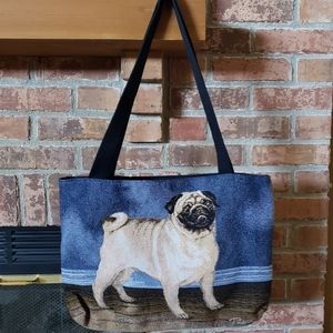 Pug Embroidered Tote